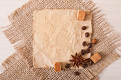 Paper menu and spices Stock Photography