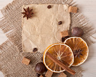 Paper menu and spices Royalty Free Stock Photo