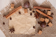 Paper menu and spices Royalty Free Stock Images