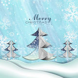 Paper Merry Christmas tree Royalty Free Stock Photos