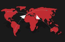 Free Paper Message Symbols Over Red World Map Stock Photos - 163951223