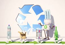 Paper, metallic, bottle and plastic characters go for recyclin,. Paper, metallic, bottle and plastic characters go for recycling, 3d rendering Royalty Free Stock Photography