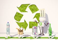 Paper, metallic, bottle and plastic characters go for recycling. 3d rendering Stock Photography