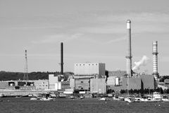 Paper Mill. Factory at Bucksport, Maine stock image