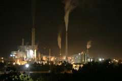 Paper mill. A paper mill at night stock photo