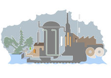 The Paper Mill. Artistic illustration of a Paper Mill Royalty Free Stock Photos