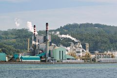 Paper mill factory near a sea loch royalty free stock image