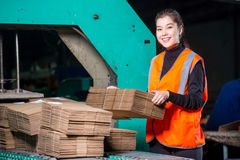 Paper mill factory worker Royalty Free Stock Image