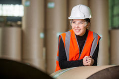 Paper mill factory worker Stock Photo