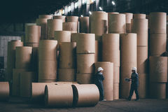 At a paper mill factory Stock Images