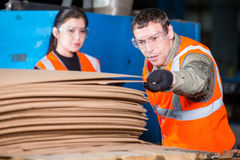 Paper mill factory workers Royalty Free Stock Photos