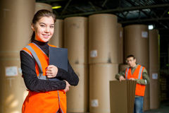 Paper mill factory workers Royalty Free Stock Images