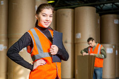 Paper mill factory workers Royalty Free Stock Photo