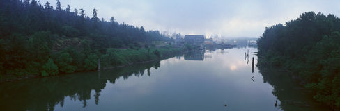 Paper Mill in the fog royalty free stock photography
