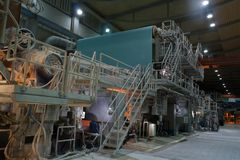 Paper mill - inside panoramic view Stock Photo