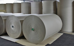 Paper mill - Paper Stock. In this factory all the fibrous raw material is produced by two de–inking plants stock images