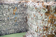 Paper mill plant - Paper and cardboard for recycling Royalty Free Stock Photography