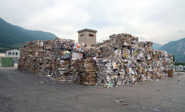 Paper mill plant - Paper and cardboard for recycling Stock Photo