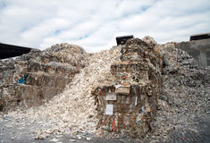 Paper mill plant - Paper and cardboard for recycling Stock Photos