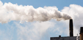 Paper Mill Smokestack White Smoke Blue Sky Stock Photo