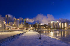 Paper Mill by Winter Night II Stock Photo