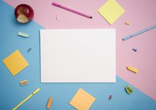 Paper mockup template and school stationery. cover design. Advertising background Stock Photos