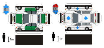 Paper model of ambulance and police cars. Any real types, vector illustration Stock Illustration