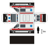 Paper model of an ambulance. Paper model of a white ambulance Stock Illustration