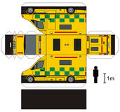 Paper model of an ambulance. Paper model of a yellow big ambulance car Royalty Free Stock Photos