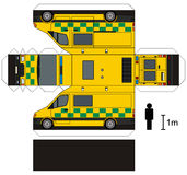 Paper model of an ambulance. Paper model of a yellow ambulance car Royalty Free Illustration