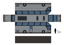 Paper model of a big bus. Paper model of a silver big touristic bus, vector illustration Royalty Free Illustration