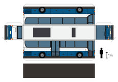 Paper model of a bus. Paper model of a blue and white bus, vector illustration Vector Illustration
