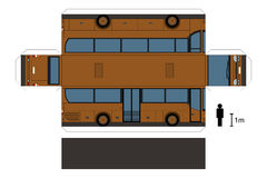 Paper model of a bus. Paper model of a brown bus, not a real type, vector illustration Vector Illustration