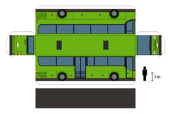 Paper model of a bus. Paper model of a green bus, not a real type, vector illustration Vector Illustration