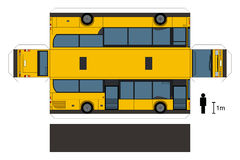 Paper model of a bus. Paper model of a yellow city bus, not a real type, vector illustration Stock Photos