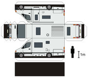 Paper model of a caravan. Paper model of a white motorhome Stock Illustration