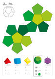 Paper Model Dodecahedron. Paper model of a dodecahedron, one of five platonic solids, to make a three-dimensional handicraft work out of the green pentagon net Royalty Free Stock Images
