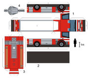 Paper model of a fire truck. Not a real type, vector illustration Stock Photos