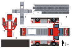 Paper model of a fire truck. Not a real type, vector illustration Stock Photo
