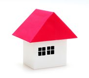 Paper model house. On white Royalty Free Stock Photo