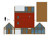 Paper model of a house. Paper model of a modern wooden house, not a real construction, vector illustration Royalty Free Illustration