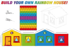 Paper Model House Template Rainbow Colors Stock Image