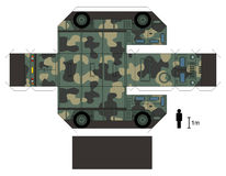 Paper model of a military truck. Paper model of a camouflage heavy military vehicle, not a real type, vector illustration Vector Illustration