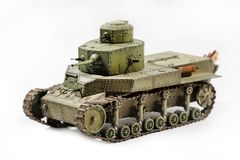 Paper model of an old battle tank isolated on Stock Photo