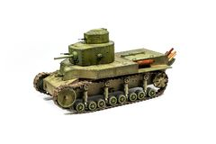 Paper model of an old battle tank isolated on Stock Photography