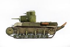 Paper model of an old battle tank isolated on Royalty Free Stock Images
