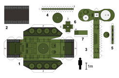 Paper model of an old tank. Paper model of a classic tank, not a real type, vector illustration Royalty Free Illustration