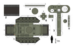 Paper model of an old tank. Paper model of a classic tank, not a real type, vector illustration Vector Illustration