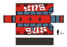 Paper model of a red bus. Paper model of a red big touristic bus, vector illustration Royalty Free Illustration