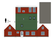 Paper model of a red house. Paper model of a dark red family house, not a real construction, vector illustration Royalty Free Illustration